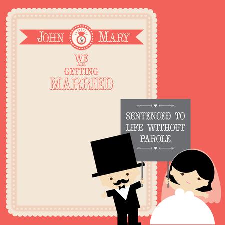 pareja casada: plantilla de vector de par de boda