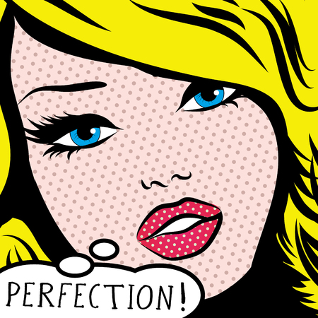 perfection: Pop art woman with perfection thought bubble
