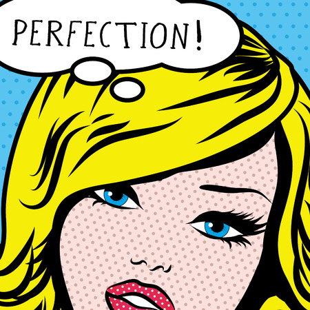 yellow art: Pop art woman with perfection thought bubble
