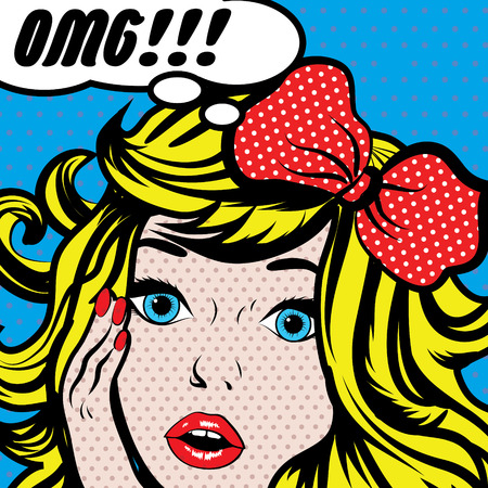 Pop art woman with omg thought bubble