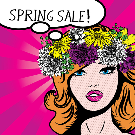 Pop art woman with spring sale thought bubble Stock Illustratie