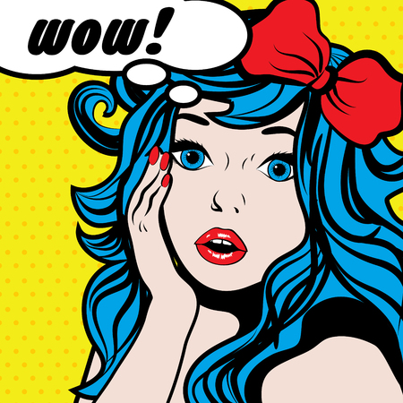 Pop art woman with wow thought bubble