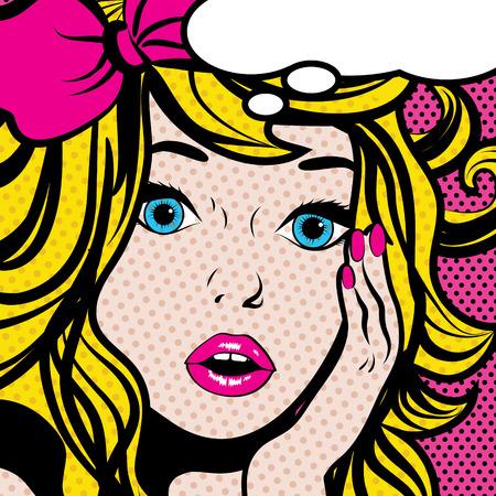 Pop-Art-Frau mit leeren Gedankenblase Standard-Bild - 50963344