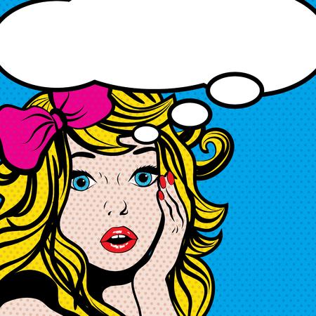 wow: mujer, el arte pop con la burbuja de pensamiento en blanco