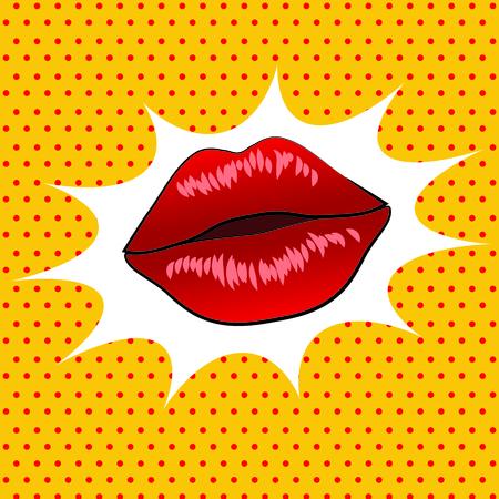 Retro lips pop art