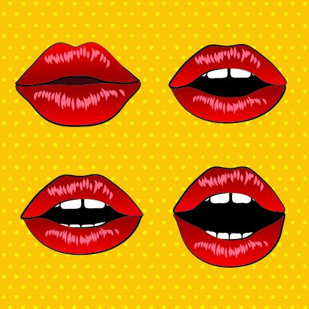 Labios retros del arte pop Ilustración de vector