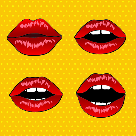 word of mouth: Retro lips pop art