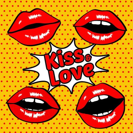 dientes caricatura: Besar los labios y el amor retro del arte pop Vectores