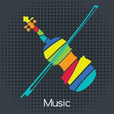 orquesta clasica: violín retro colorido