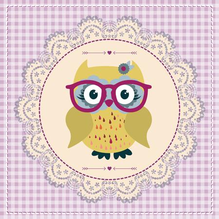 lovable: Cute cartoon owl vector