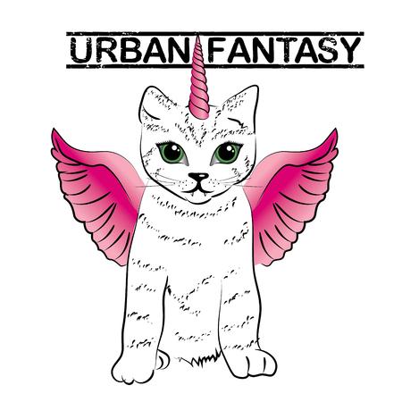 urban fantasy - gatti carino unicorno Vettoriali