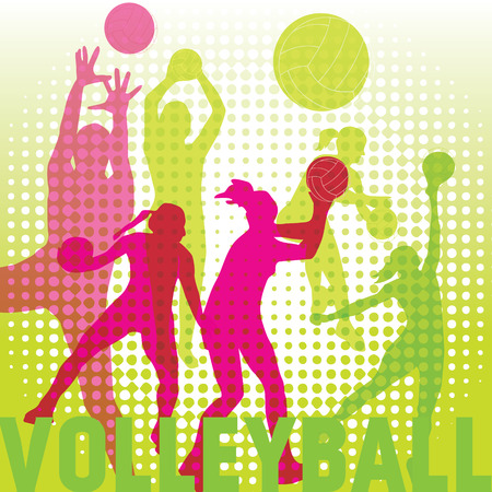 Silhouettes of volleyball players Illustration