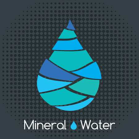 mineral water: Single blue mineral water drop icon Illustration