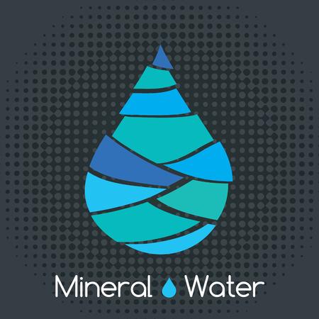 Single blue mineral water drop icon Ilustração