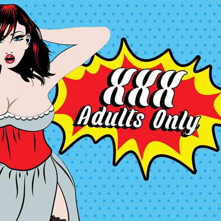 voluptuosa: Sólo para adultos ejemplo atractivo de la muchacha Vectores