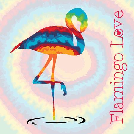 Tie dye flamingo love
