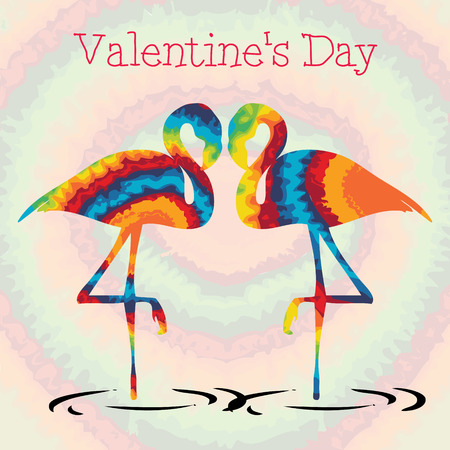 Tie dye flamingo valentines day