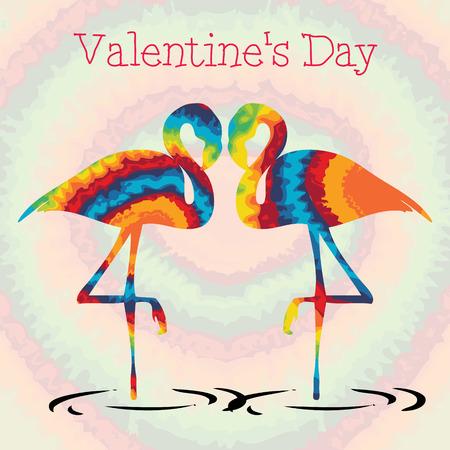 Tie dye flamingo valentines day