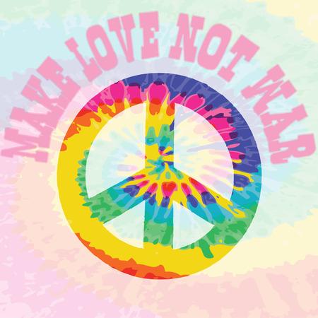 woodstock: Hippie style tie dye illustration for make love not war