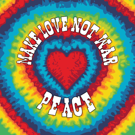 Hippie-Stil Tie-Dye-Illustration für Make love not war Standard-Bild - 51007819