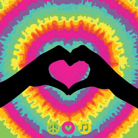 faire l amour: Le style hippie illustration tie dye pour le maquillage amour pas la guerre Illustration