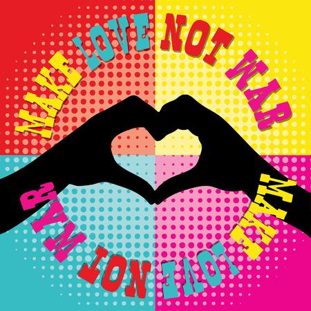 faire l amour: Le style hippie r�tro illustration pour make amour pas la guerre