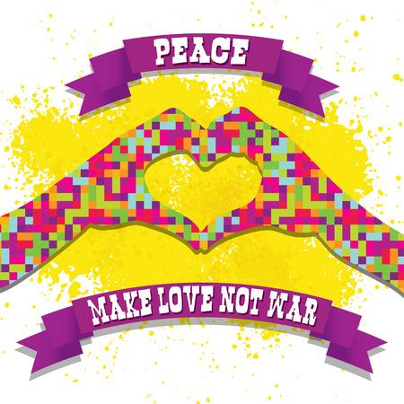 hacer el amor: hippie ilustración píxel estilo para hacer el amor no la guerra Vectores