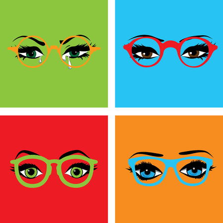 Pop art eyes with glasses