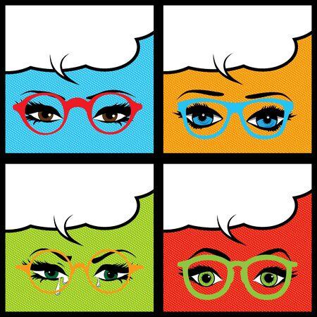 tilt views: Pop art eyes with glasses and speech bubble