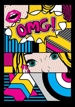 Pop art comic style Vettoriali