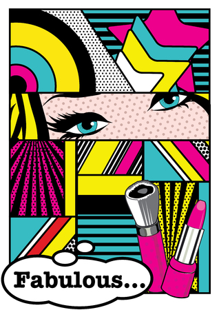 Pop art comic style with thought bubble  イラスト・ベクター素材