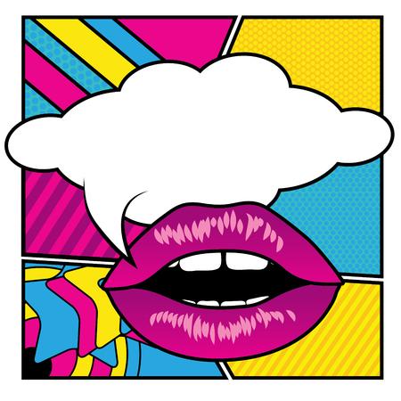 Pop art lips - empty speech bubble