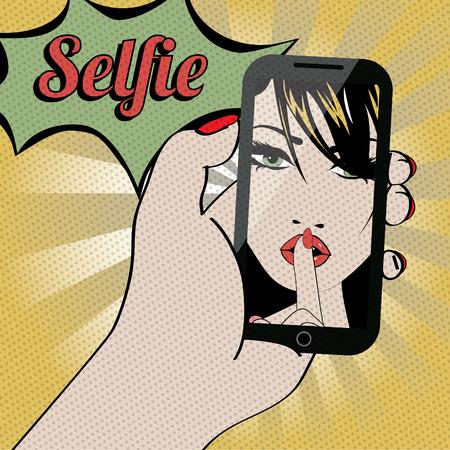 blonde blue eyes: Pop art vector of a woman taking a selfie
