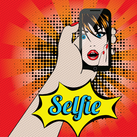 Pop art vector of a woman taking a selfie