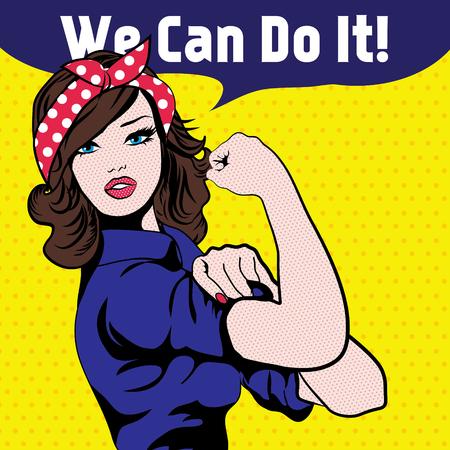 vrouwen: Vrouw met wij kunnen het doen tekstballon Stock Illustratie