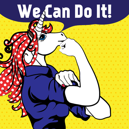Unicorn with we can do it speech bubble