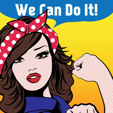 Woman with we can do it speech bubble