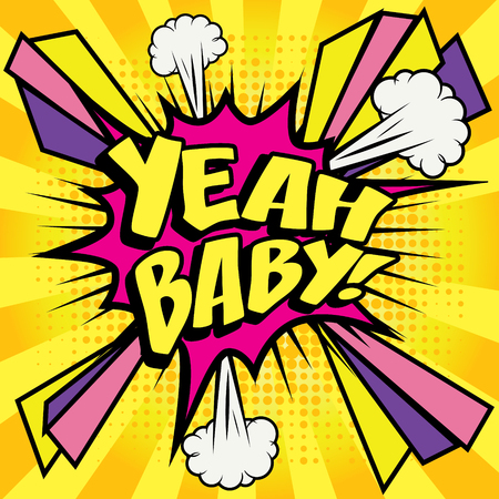 Yeah baby pop art Stock Illustratie