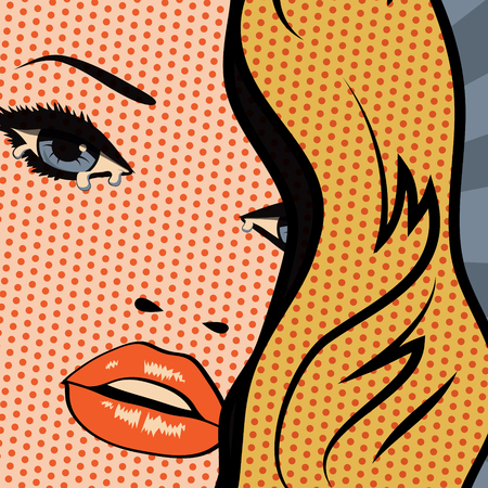 tears: Vintage woman in tears Illustration