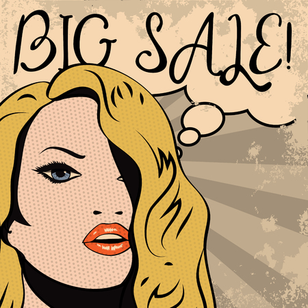 woman lips: Vintage woman with sale thought bubble