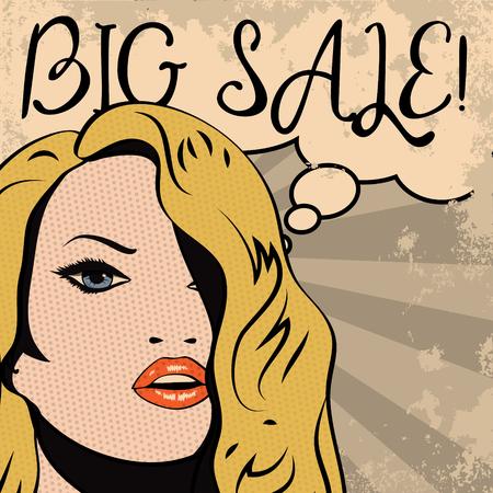 pop art woman: Vintage woman with sale thought bubble