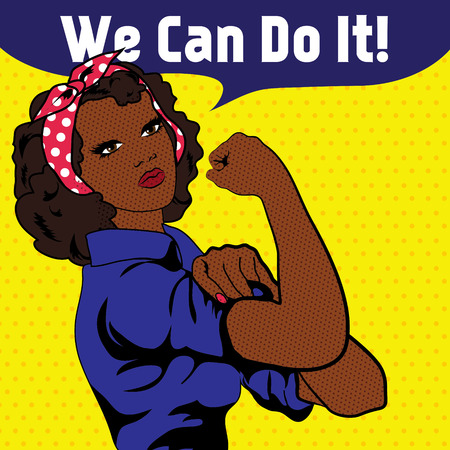 We Can Do It, il simbolo del pugno di una donna iconica Vettoriali