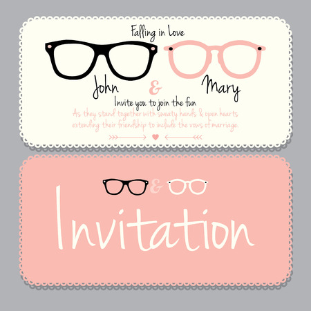 spectacle frame: Wedding card template