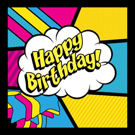 happy birthday cartoon: Pop Art comics icon Happy Birthday!