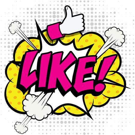 Pop Art comics icon Like! Illustration