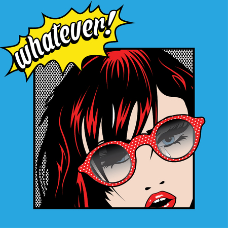 whatever: Pop Art Woman with Glasses - Whatever Illustration