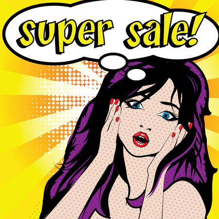 super woman: Pop Art Woman - Super Sale! Illustration
