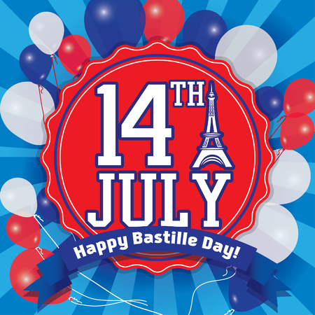 14th: Happy Bastille Day 14th july - French National Day Illustration