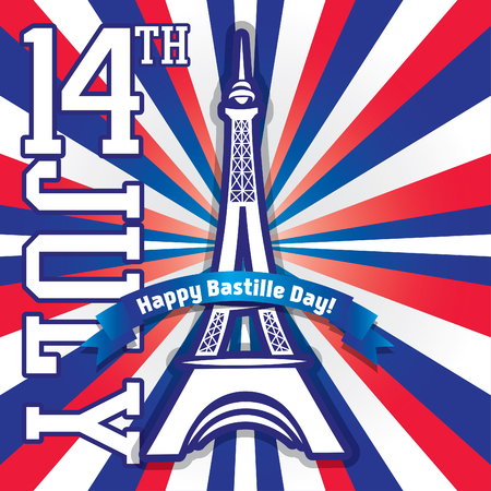 bastille: Happy Bastille Day 14th july - French National Day Illustration