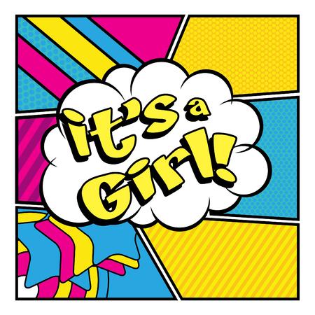childbirth: Pop Art comics icon Its a girl! Illustration
